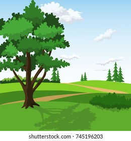 Green Hills With Big Tree and Pathway Scene.Vector Illustration