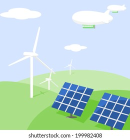 Green hills with a solar and wind power stations and airships in the sky