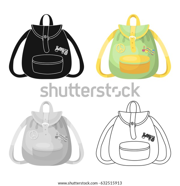 Green hippy backpack.Hippy single icon in cartoon style vector symbol stock illustration web.