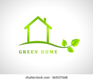 Green home design with house and leaves. Eco friendly house concept.
