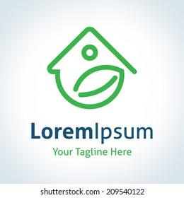 Green home energy protection logo vector icon