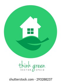 Green home with house and leaf. Eps10 vector logo and icon concept in flat design.