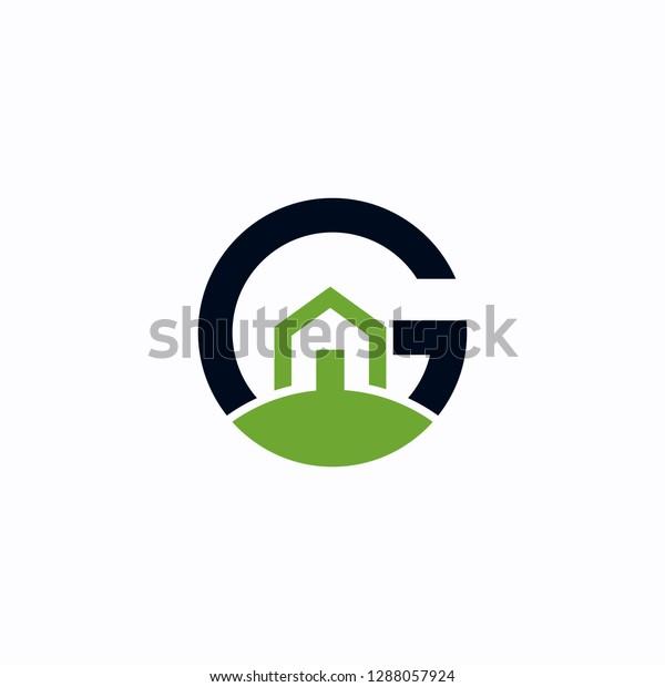 Green Home Letter G Logo Design Stock Vector Royalty Free