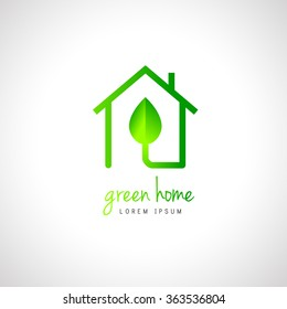 Green home logo concept with house and leaf. Line art design.