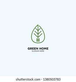 Green Home logo template, vector illustration - Vector