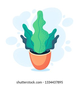 Green homeplant in clay pot. Plant in cartoon style. Flat vector illustration.