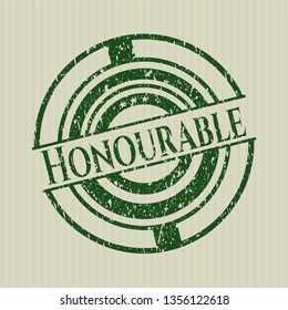 Green Honourable distressed grunge seal