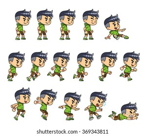 Green Hood Sport Casual Boy game sprites for side scrolling action adventure endless runner 2D mobile game.