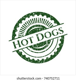 Green Hot Dogs rubber stamp with grunge texture