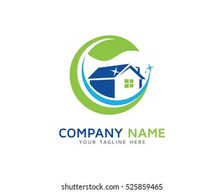 Green House Cleaning Service Logo Design Template