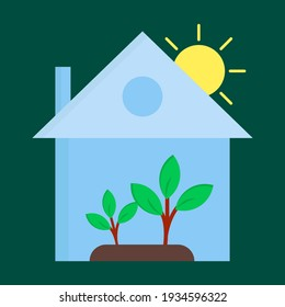 green house flat icon illustration of vector graphic
