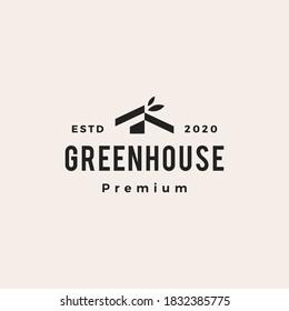 green house leaf hipster vintage logo vector icon illustration
