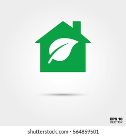 Green house with leaf symbol Icon. Low energy home. EPS 10 Vector.