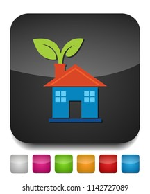 Green house and leaves, eco icon, alternative energy, green environment