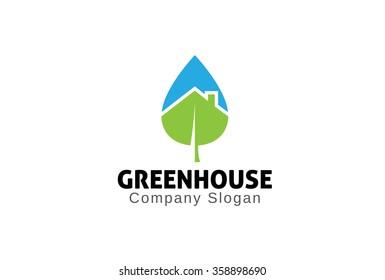 Green House Logo Design Illustration