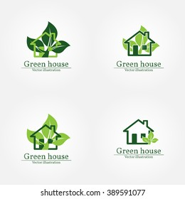 Green house logo. Energy saving concept. Vector illustration.Vector logo template.