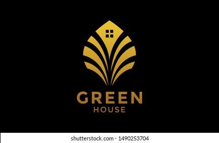 green house logo, icon, gold color, Concept Icon House + Symbol Green Leaf. Green House logo Design vector, Nature House Logo, Green home logo design template