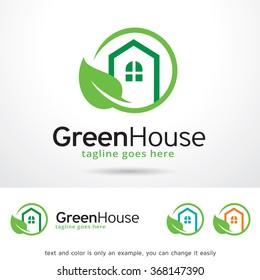 Green House Logo Template Design Vector