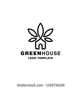 Green House Logo Template, House Leaf Logo, Cannabis Logo, Marijuana Green House