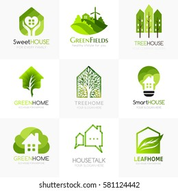 Green house logo templates. Conceptual icon for hotels, real estate firms, eco friendly smart houses, cottages