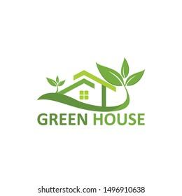 green house logo vector green home stock vector