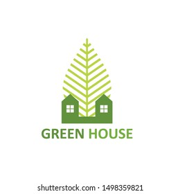 green house logo vector green home stock vector with leaf and tree