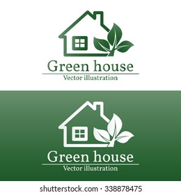 Green house logo.For web design and application interface, also useful for infographics. Vector illustration.