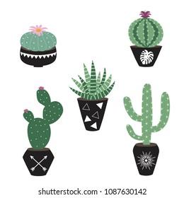 green house plants in the black pots haworthia cactus peyote aloe sansevieria scandinavian style boho illustration icon set vector.