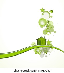 Green house with stars over white background, vector illustration