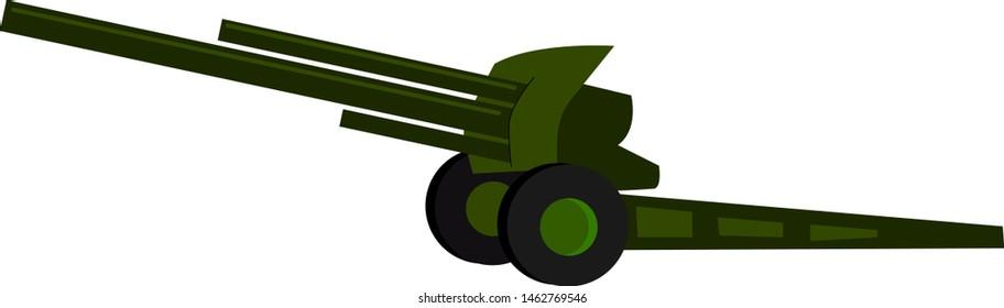 Green howitzer. illustration. vector on white background.