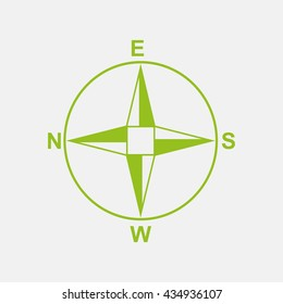 Green icon of Direction Compass on Light Gray background. Eps-10.