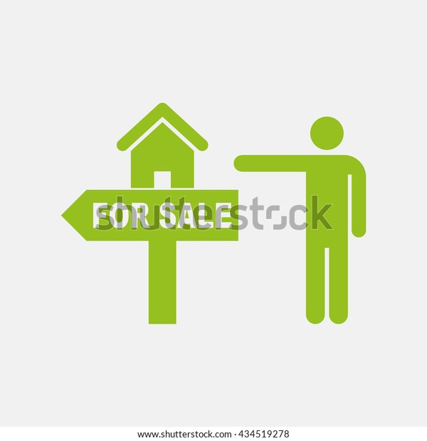 Green Icon House Property Sale On Stock Vector (Royalty Free