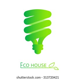 Green icon with LED lightbulb. Vector low energy bulb. Eco friendly lighting concept.