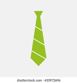 Green icon of Neck Tie on Light Gray background. Eps-10.