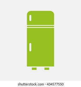 Green icon of Refrigerator on Light Gray background. Eps-10.