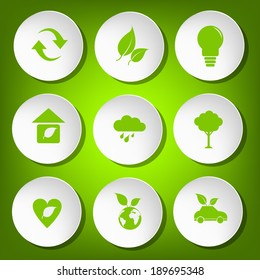 Green icon save the world vector and button on green background for modern website design