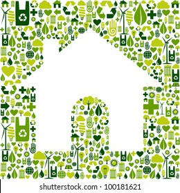 Green icons background in home shape. Vector file available.