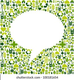 Green icons set in social media speech bubble background. Vector file available.
