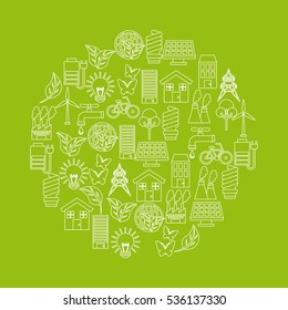 green idea and ecology icons on circle shape over green background. colorful design. vector illustration