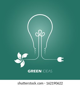 Green ideas innovation, Eco bulb energy. Easy color change vector design.