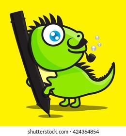 Green iguana cartoon drawing on yellow background vector illustration eps10