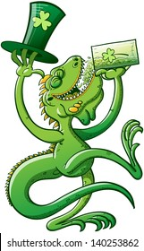 Green iguana having fun while drinking beer and holding a big hat on St Paddy's Day celebration