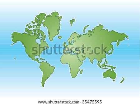 Green Illustrated World Map Blue Background Stock Vector Royalty