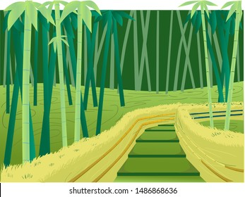 Green illustration sagano bamboo forest  Japan for parallax effect