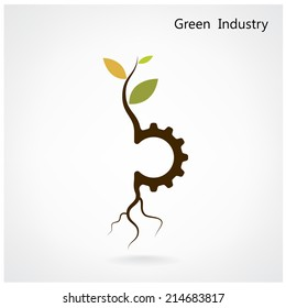Green industry concept. Small plant and gear symbol, business and green idea, education concept. Vector illustration.