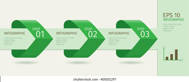 Green infographic arrows with step up options.