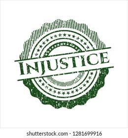 Green Injustice distressed rubber grunge stamp