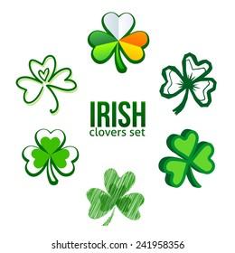 Green Irish clovers in logo template style