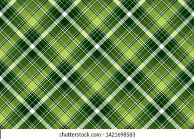 Green irish diagonal abstract plaid seamless pattern. Vector illustration.