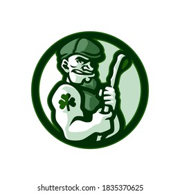 Green irish stick sport logo design